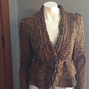 Vintage Lux Blazer Jacket Paisley Wool Blend Med